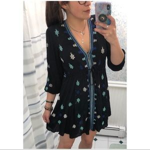 [Free People] Black Embroidered Flowy Gypsy Dress